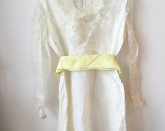 vintage 60s sheer polka dot organza white dress with tags