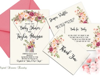 Floral Baby Shower Invitation Printable Boho Baby Shower Invitation Spring Baby Shower Invitation Baby Girl Shower Baby Boy Shower Invites