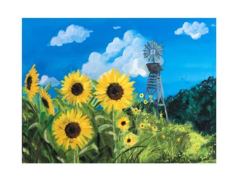 Sunflowers, Windmill, Texas, Lanscape, Fine Art, Print