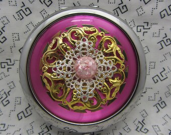 Compact mirror with protective pouch - pocket mirror gift - cute gift for friend - pink compact mirror - think pink