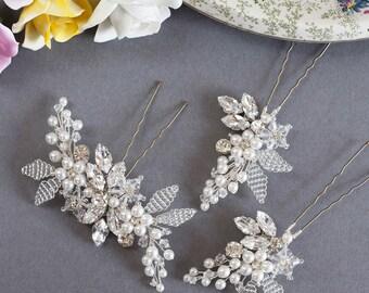 Swarovski Crystal Wedding Hair Pin Bridal Hair Pin Crystal Diamante Ivory Pearl Accessory (Alissa Hair Pin 2x Medium & 1x Large Pin Set)