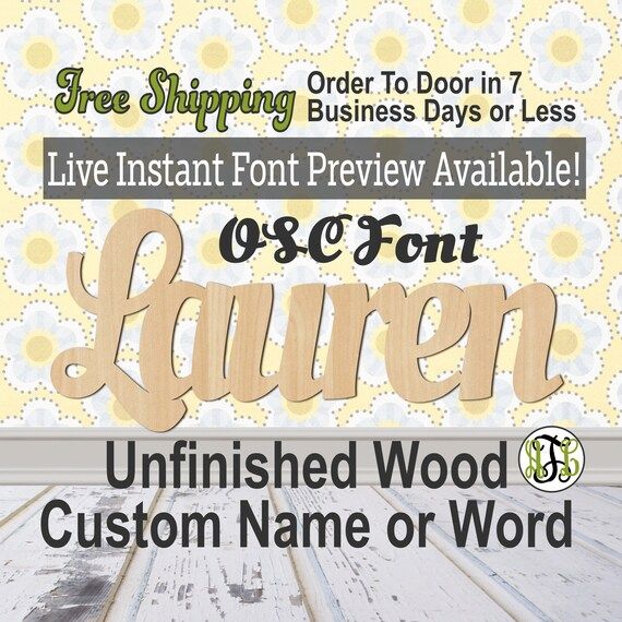 OSC Font Custom Name or Word Sign, Cursive, Connected, wood cut out, wood cutout, wooden sign, Nursery, Wedding, Birthday, name sign, Script