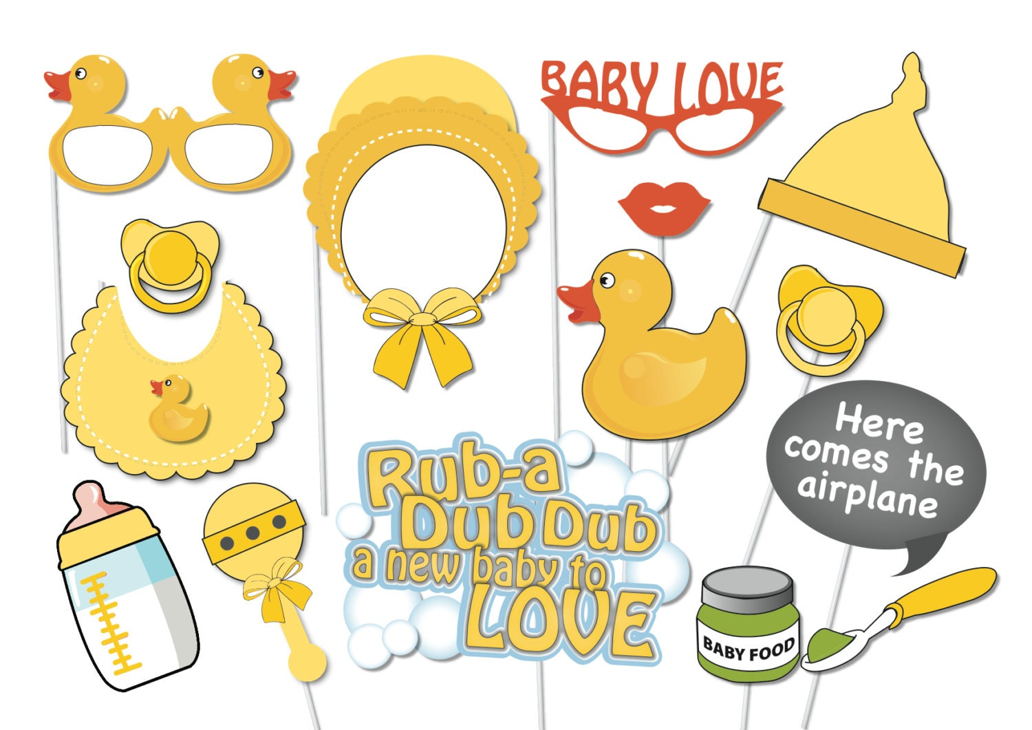 Rubber Ducky Baby Shower Photobooth Party Props Set 16 Piece