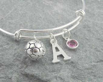Soccer bracelet, silver football bracelet, soccer mom gift, initial bracelet, swarovski birthstone, personalized jewelry, sports jewelry