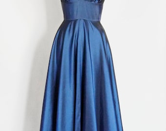 Midnight Blue Taffeta Full Length Sweetheart Dress - Made by Dig For Victory
