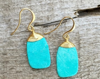 Gold Wire Wrapped Blue Turquoise Dangle Drop Boho Chic Earrings | Turquoise Earrings | Turquoise Chip Earrings | Gold Statement Earrings