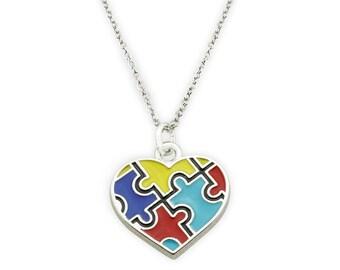 Autism Awareness Heart Necklace - Autism Necklace - Puzzle Piece Necklace - Someone I love has autism - Autism Mom - Mom of autism -