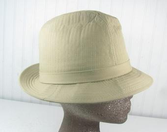 Vintage Hat, Tan Quilted Hat, fedora, Mens Hat, Hat, 1950 fashion, all weather gear, khaki, vintage hat,