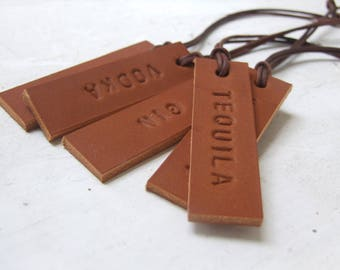 Set of 5 SMALL Decanter Tags, Hand Stamped Leather Tags, Gift for Her, Gift for Him, Handmade in UK