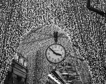 "New York Photography, Chelsea Market, Clock, Shimmer, New York City, Black and White, Wall Art, Home Decor, ""Clock at Chelsea Market"""""