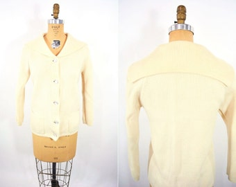 "1960s sailor cardigan | cream silver button down sweater | vintage 60s cardi | W 32"""