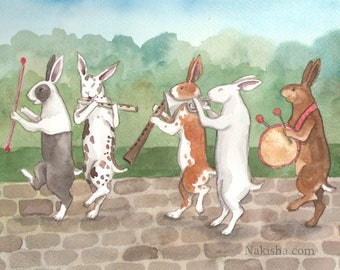 Spring Music - Fine Art Print featuring Rabbits Playing Instruments