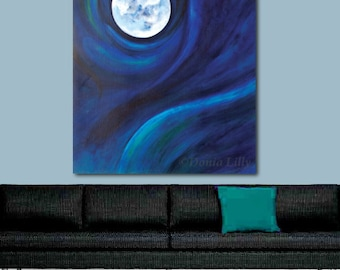 Extra Large Pisces Moon art print oversize canvas in blue, green, teal, white halloween, astrology fish painting: Kauai, Hawaii artist Donia