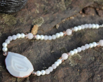 Blue Lace Agate Pearl Necklace