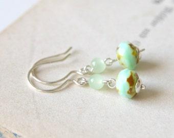 Pistachio Earrings - Light Green Faceted Glass Beaded Sterling Silver Dangle Earrings, Handmade Jewellery by Ikuri immortelle, FREE SHIPPING