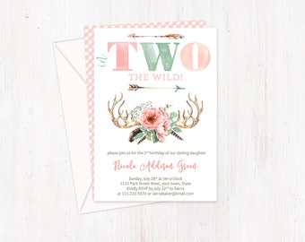 Adventure invites, 2nd birthday party, party invitations, Wild invitations, TWO invites, In TWO the wild, girl birthday, printed invites