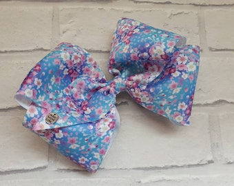 "Girls large 8"" Blue Pink Pastel Flowers Blossom boutique hair bow with alligator clip like JoJo Siwa Bows Signature Keeper Dance Moms party"