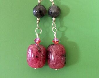 Rhodonite Labradorite Swarovski Earrings