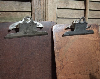 ClipBoard s Lot of 2  used nice patina Thick wood backing Vintage Hardboard products