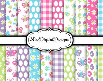 20 Digital Papers. Patterns for Easter in Rainbow Colours (1M no 5) for Personal Use and Small Commercial Use Scrapbooking