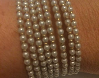 Bracelet Pearl & Gold memory wire seed bead