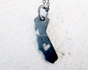 I Love California State Necklace - Oxidized Solid 925 Sterling Silver Charm - Insurance Included
