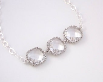 Glass Bracelet, Crystal Bracelet, Sterling Silver Bracelet, Clear Bracelet, Wedding Jewelry, Bridal, Bridesmaids Bracelet, Bridesmaid Gifts