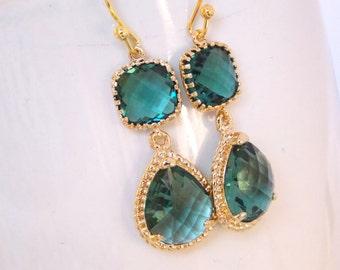 Wedding Jewelry, Teal Earrings, Aqua Green, Green Earrings, Bridesmaid Jewelry, Bridesmaids Gifts, Wedding GiftsDangle,Bride Gifts,Gold,Drop