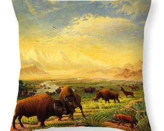 Buffalo on the Great Plains Landscape Throw Pillow Cover, Rustic Home Decor, Decorative Americana, Bison, Western, Sofa Decor,
