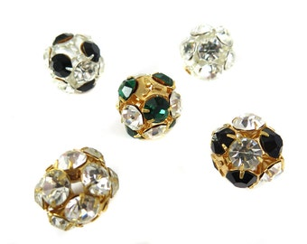 Mix of Vintage West German Rhinestone Ball Beads- (5X) (S570)
