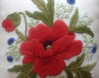 Poppy and Cornflowers, a crewel embroidery kit for beginners to crewel embroidery