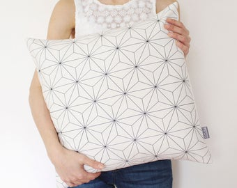 Valentine's Day Gift, White Geometric Decorative Pillow Cover, Minimal Cushion, Pattern Pillow, Scandinavian Pillow, Black and White Pillow