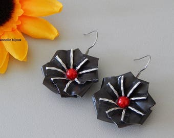 Earrings with gunmetal caps form Edelweiss