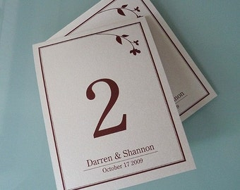 Sweet Branch Tent Style Table Numbers
