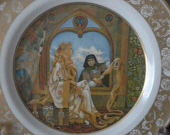 Rapunzel porcelain collectors fairy tale plate 1970s