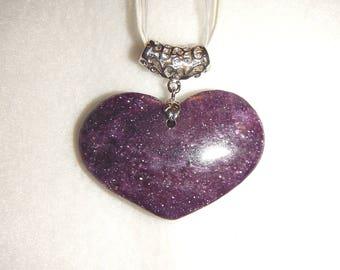 Heart-shaped Purple Lepidolite pendant necklace (JO543)