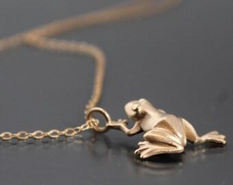 frog pendant  bronze