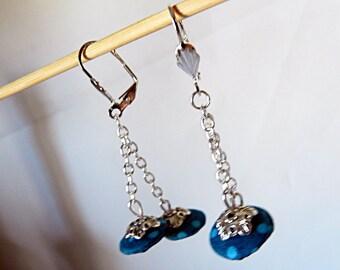Blue dot earrings