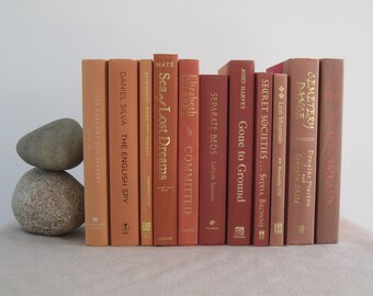 Decorative Book Set in Orange Shades, Book Bundle, Stack of Books, Wedding Centerpiece, Books by Color, Shelf Decor, Mantel, Gradient