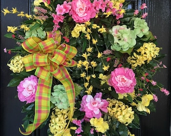 Spring through Summer Wreath with Cabbage Roses, Hydrangeas & Lilacs with Plaid Bow