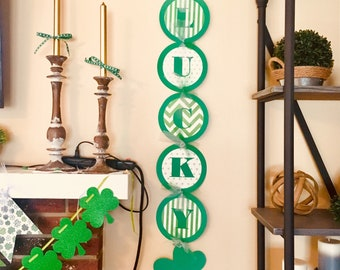 St. Patrick's Day Banner READY TO SHIP, St. Pattys Day Banner, St. Patricks Decor, St. Pattys Day Decorations, Lucky Banner