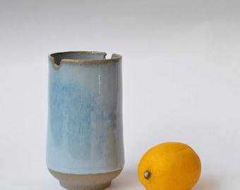 Medium size vase, stoneware pottery, vase, made in france, handmade, wheel-thrown, blue ceramic vase, blue glaze, ikebana, decoration