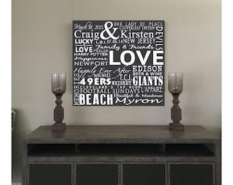 Your Words on Canvas, make your own personalized gift, unique Anniversary or birthday gift, Typography Wall Art, Word Design Art