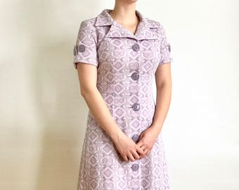 Vintage Purple, Pink & Grey Quilted Button-up Italian Dress // 1970s
