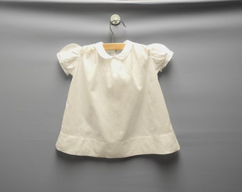 Vintage Baby Clothes, 1940's White Embroidered Baby Girl Dress, Vintage Baby Dress, White Baby Dress, Size 6-9 Months