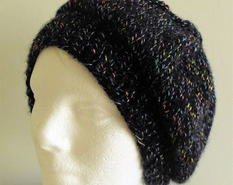 Black Hand Knitted SLOUCHY HAT, Free USA Shipping, Size Med Adult, Wool Acrylic Blend, 77 acrylic, 23 Merino Wool,Tam, Women, Teens, Tweens