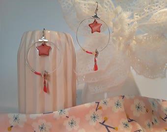Coral star earrings