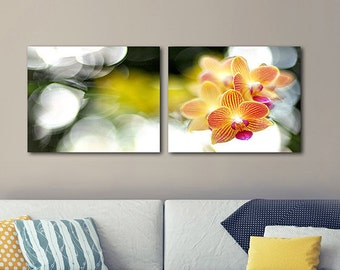 Orchid 2 Piece Wall Art, Orchid Diptych, Downloadable Art