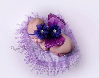 Purple Wing and Headband Set, Newborn Photography Prop, Photography Prop, Baby Girl Headband, Baby Girl Prop