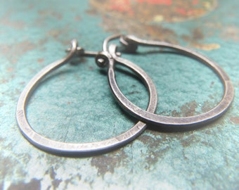 Simple Artifact Earrings - Sterling Silver Chunky Oxidized Hoops - Handmade to Order within 2 Weeks